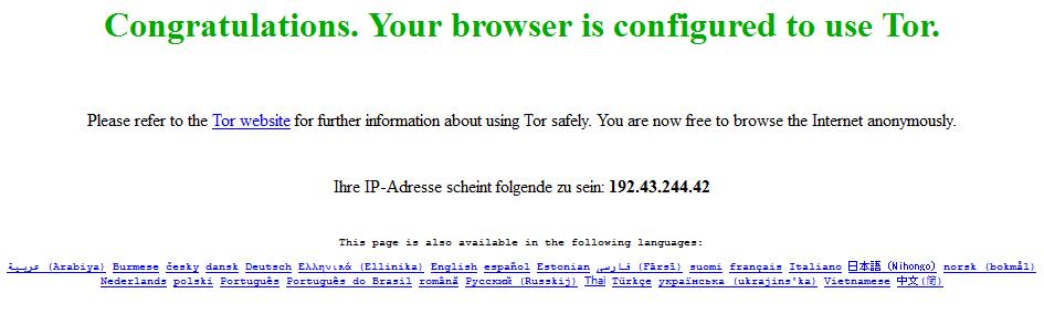 Dark Web - Tor Startseite