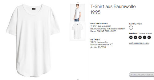 T-Shirt bei einem anderen Geschäft