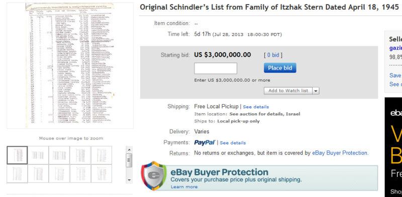 Schindlers Liste auf ebay