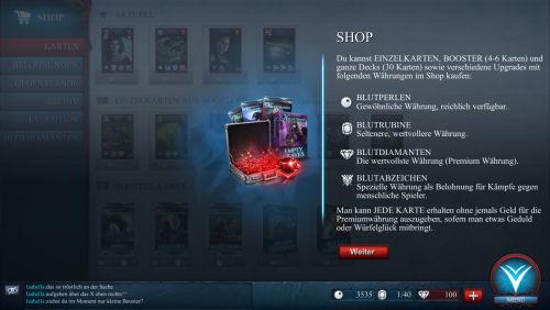 Im Shop können erworbene Punkte gegen Karten und Upgrades eingetauscht werden.