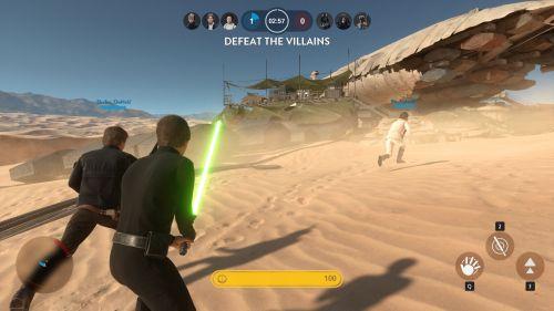 Luke Skywalker, Han Solo und Leia Organa gegen Darth Vader, Boba Fett und den Imperator.