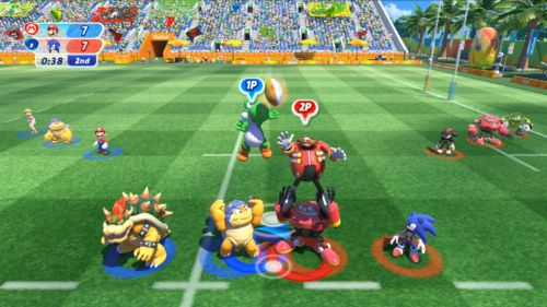 Yoshi nutzt seinen Vorteil und schnappt sich durch mehr Sprungkraft den Ball im Rugby.