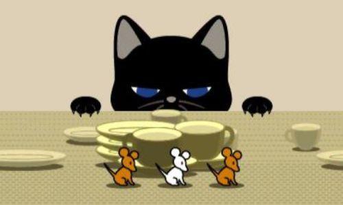 Mäuse infiltrieren den Mittagstisch. Wenn die Katze zusieht muss im richtigen Takt versteckt werden.